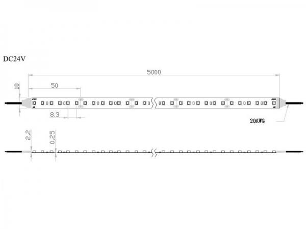 Taśma 600 LED 12,8W/1m diody smd 2835 IP00 CRI>80 24V IcDriver